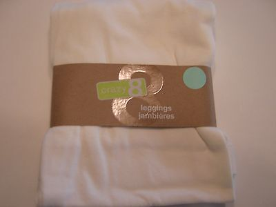 Crazy 8 By Gymboree Nwt Girls Solid White Leggings Large 10 12 New