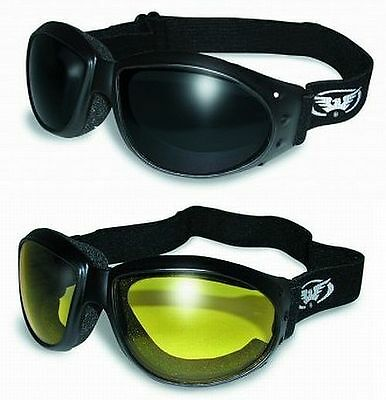 2 Motorcycle Riding Foam Padded Goggles-Sun Glasses-SUPER DARK & YELLOW Lenses