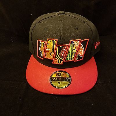 60b93ca3609 Chicago Blackhawks Hat Cap Size One Size Size New Era Fitted 7 1 2 Sample
