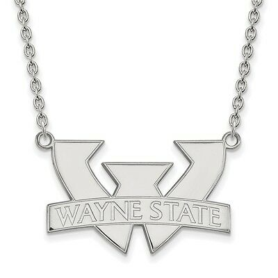 925 Sterling Silver Rhodium-plated Laser-cut Jacksonville State University Small Pendant w//Necklace 18