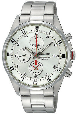 Seiko SNDC87 Men's Stainless Steel Silver Dial Chronograph Casual Sports Watch