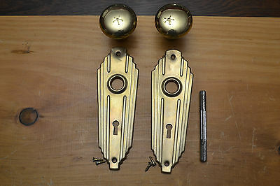 Antique Vintage Aesthetic Eastlake Brass/Bronze Matching Door Knobs & Faceplates