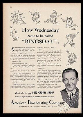 1946 Bing Crosby photo ABC radio vintage print ad