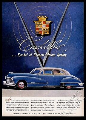 1946 Cadillac sedan blue car vintage print ad