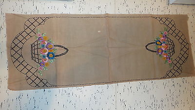 "Antique Embroidered DOILY RUNNER, FLOWER BASKETS, 42"" x17"", Ecru, Unfinished"
