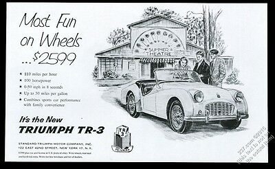1956 Triumph TR-3 car at summer theater illustrated vintage print ad