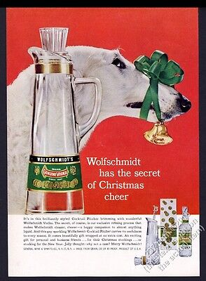 1958 Borzoi Russian Wolfhound photo Wolfschmidt's Vodka vintage Christmas ad