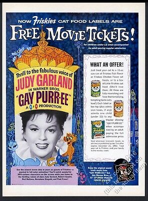 1962 Judy Garland photo Friskies cat food vintage print ad