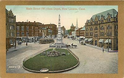 NEW LONDON, Connecticut  CT   STATE STREET Scene from Depot  1910  Postcard