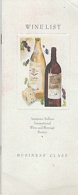 American Airlines Business Class Wine List 1993 Chicago - Manchester (Uk) Flight