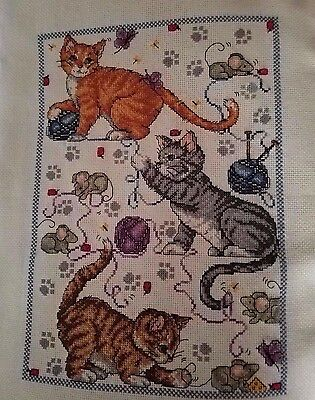 PLAYFUL KITTENS...... Completed/Handcrafted Cross Stitch Picture