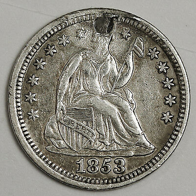 1853 Seated Liberty Half Dime.  No Arrows.  X.F. Detail.  99160