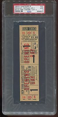 1953 New York Giants Full Ticket Opening Day Dodgers Jackie Robinson PSA