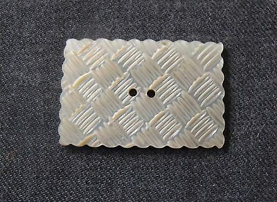 Antique Carved Woven Stripes Mop Mother Of Pearl Huge Button  3