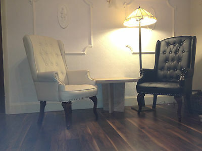 Orthopedic High Back Chair Winged Armchair Fireside Queen Anne Fireside Leather