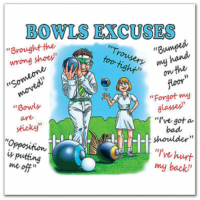 Mens Ladies Bowls Bowling Excuses Gift Present  Microfibre Cleaning Cloth