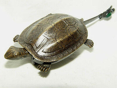 Rare Chinese Old Style Brass Carved Turtle Lock and Key