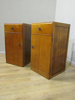 Original Antique Pair Of Art Deco Oak Bedsides Circa 1920