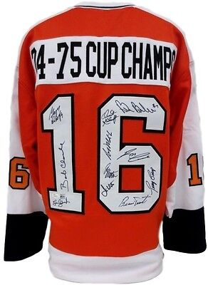 Flyers Team Signed 74-75 Cup Champs Custom Jersey Clarke, Parent 11 Sigs JSA+SI
