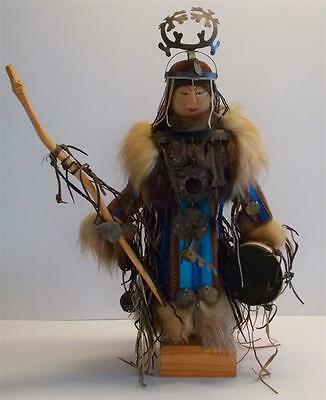 Handcarved, handmade shaman from Irkutsk Russia drum, fur coat, staff NEW PRICE!
