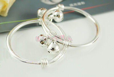 Lovely   2pcs Silver S92.5% Sterling Plated Baby Kid Bell Bangle Bracelet BDAU