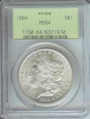 1884 (1884-P)  MORGAN SILVER DOLLAR S$1 PCGS MS64 MS-64 Old Green Holder OGH !!