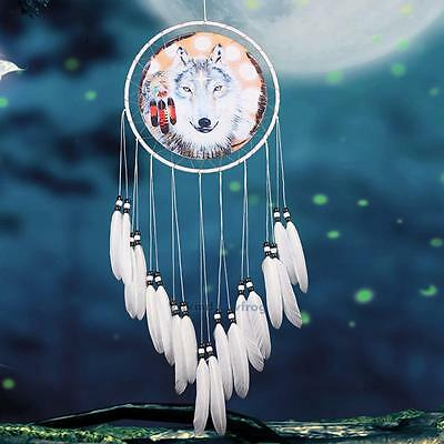 """New Dream Catcher With Feathers 27"""" Wall Hanging Decoration Gift Ornament-Wolf V"""