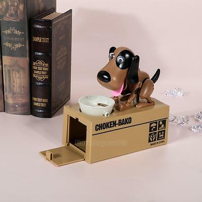 Lovely Kids Dog Puppy Stealing Coin Money Penny Cents Piggy Bank Saving Box Gift