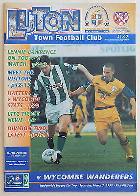 LUTON TOWN Vs WYCOMBE WANDERERS Programme - 7 March 1998 - Division 2