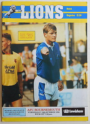 MILLWALL Vs BOURNEMOUTH Programme - 10 October 1990 - League Cup Second Round