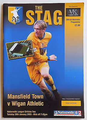 MANSFIELD TOWN Vs WIGAN ATHLETIC Programme - 28 January 2003 - Division 2