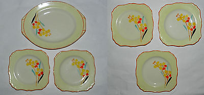6 X Old J & G Meakin Plates - Attractive Floral (Deco) Design - Sol 391413