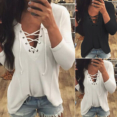 Fashion Women Lace-up Casual Long Sleeve Tops Shirt Ladies Loose T-shirt Blouse