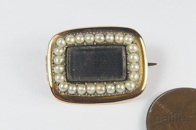 ANTIQUE ENGLISH 9 CARAT GOLD SEED PEARL MOURNING BROOCH c1830