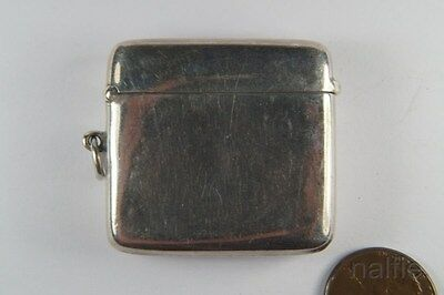 ANTIQUE ENGLISH EDWARDIAN STERLING SILVER VESTA CASE / MATCH SAFE c1911