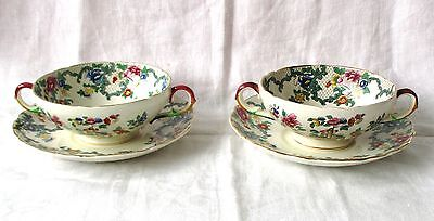 2 Soup Coups And Saucers By Royal Cauldon, England  -  Victoria