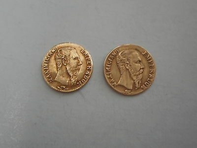 Vintage 14K Gold Two 1865  Imperio Mexicano Scrap Gold Coins