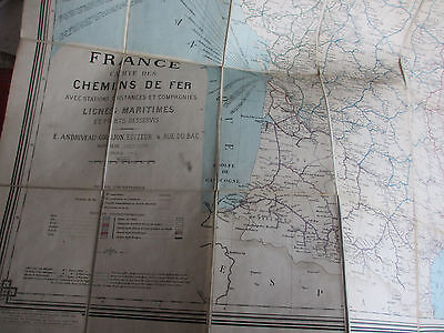 Railway map of France, large folding linen-backed map, 1889