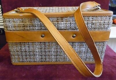Vintage  Hartmann Light Brown Tweed Train Cosmetic Case Luggage Carry On
