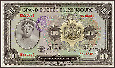 Luxemburg / Luxembourg 100 Francs (1934) mit Stempel Pick 39a (2+)