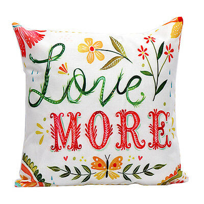 Vintage  Flower Letters Pillow Case Sofa Waist Throw Cushion Cover Home Decor