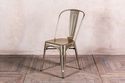 Champagne Tolix Style Metal Dining Chairs Metallic Champagne Gold Stacking Chair