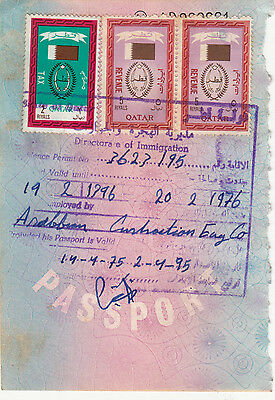 1976 Qatar 2 And 5 Riyal Revenue Fiscal Stamps On Document.