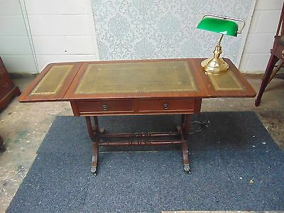 BEAUTIFUL WRITING DESK in MAHOGANY and GREEN LEATHER and REGENCY STYLE