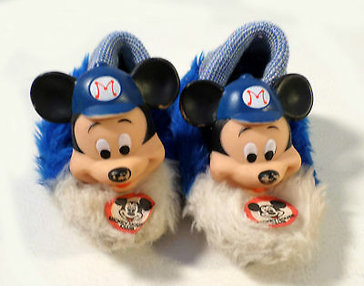 Vintage 60s-70s Toddler Size 6 Mickey Mouse Club Plush Slippers, Rubber Mickey
