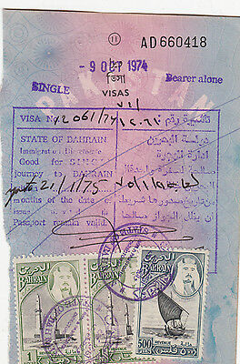 1976 Bahrain 500 Fills And One Dinar  Revenue Fiscal Stamps On Document.