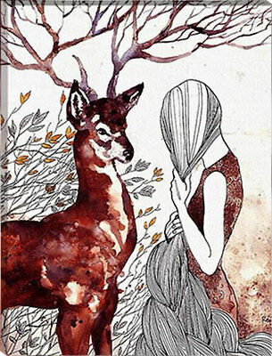 Framed Painting by Number kit The Reindeer and Maiden Animal Lady Deer HT7086