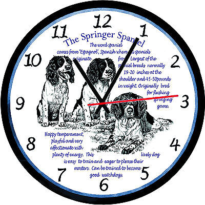 Springer Spaniel Dog Origins & Facts Large  Gift Boxed Wall Clock