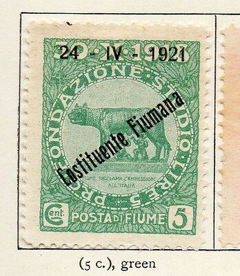 Fiume 1921 Early Issue Fine Mint Hinged 5c. Optd 099017