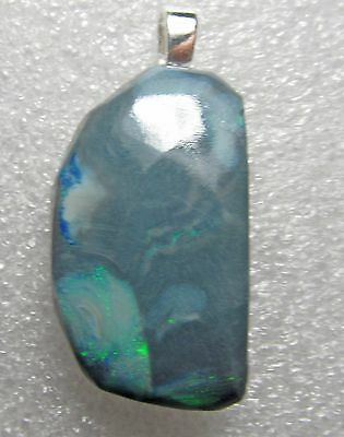 35.5 carat boulder opal sterling silver pendant, blue green fire, 40 x 19 x 8 mm